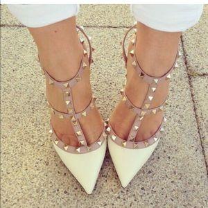 Wild diva beige studded heels 8